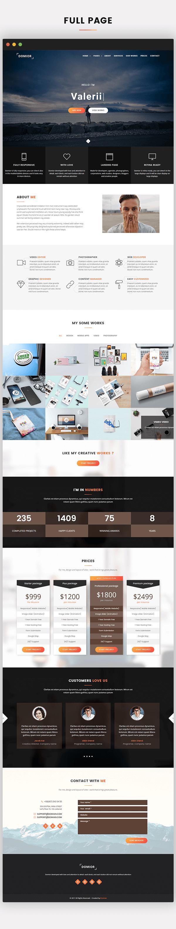 Domior - Creative Personal Portfolio WordPress Shop Theme